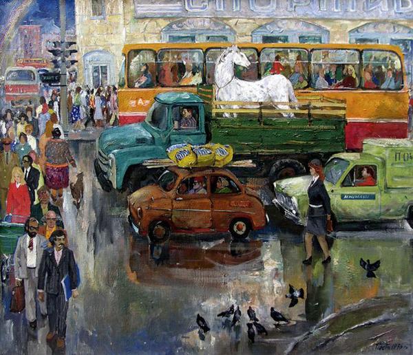 остников Ижевский перекресток. 1976, холст, масло