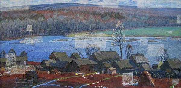 Попов Николай Яковлевич осень в Удмуртии. 1976, холст, масло