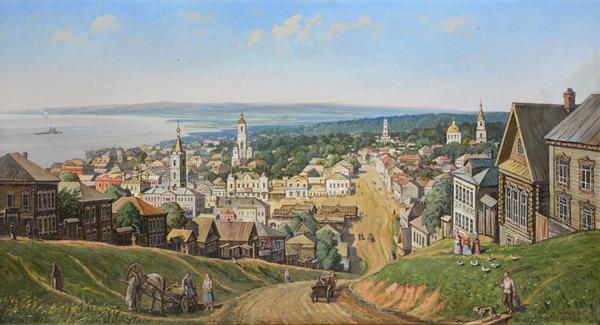 Вид на старый Сарапул со Старцевой горы 1900 г. Белых.  2013, холст, масло